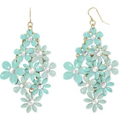 Decree Blue Stone Gold-Tone Flower Chandelier Earrings ($12) ❤ liked on Polyvore featuring jewelry, earrings, blue stone earrings, gold tone jewelry, flower earrings, stone jewelry and blossom jewelry