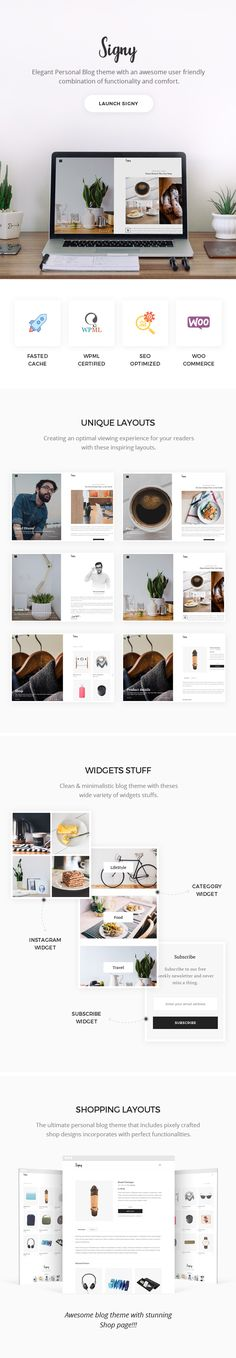 Signy Theme Features - crafted personal blog theme that inspired by e-readers