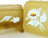Vintage Yellow Glass Westmoreland Trinket Box by ElvasVintage