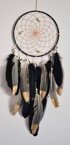 Black and Gold Feather Dream Catcher Decor, Native American Style, Large Dreamcatcher, Black Gold Bedroom Home Wall Hanging Decor Dream Catcher Decor, Black Dream Catcher, Large Dream Catcher, Feather Dream Catcher, Diy Wand, Tribal Bedroom, Gold Bedroom, Men Bedroom, Bedroom Black