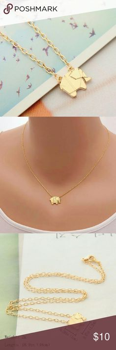 """❤️❤️Gold plated origami elephant necklace ❤️""""Jewelry box clean out sale, limited quantity """" Buy any jewelry (earrings/necklace) for 10 dollars and get 1 more any jewelry for just 5 more dollars when you purchase in a bundle, please leave me a comment if you have any question or need help setting up the bundle, and please let me know the colors of the items you want to purchase! Thanks! Jewelry Necklaces"""