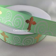 Love love love! Check out this gorgeous #easter ribbon....soon to be dog collars and leashes! I'll add it to the shop tonight. #caninedesign #dogs #dogleash #collar #leash #jesus #cross #faith #god by caninedesigncollars
