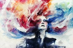 Very interesting black and white or colorful paintings by Agnes Cecile - ego-alterego.com