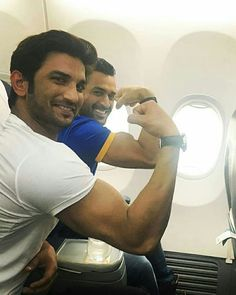 Real and Reel Life Dhoni. Sushant Singh Rajput will be playing Dhoni in his Biopic.