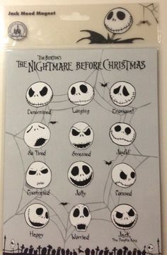 Disney Parks Nightmare Before Christmas Jack Skellington Mood Magnet Sign