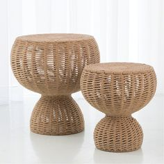 Global Views, Rope Side Table, End Tables & Accent Tables, Accent Tables, Yellow Rattan Coffee Table, Wicker Table, Drum Table, Boho Room, End Tables, Room Decor, Furniture, Beach House, Ottoman