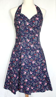 Get it at Bad Reputation! Dark Blue & Pink #FloralPrint #Cotton Sundress / #Halter #Dress - Size 7/8 Pinup  #Roberta #Sundress #Pinup #Summer #Country #Barbeque #Garden