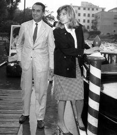 """director michelangelo antonioni and actress monica vitti (""""l'avventura"""" 1960) in venice for the film festival"""