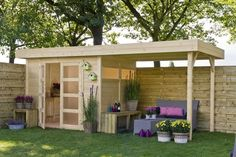 Buy garden shed: large selection of wooden sheds, € 0 shipping and personal service. Backyard Sheds, Backyard Patio, Small Backyard Landscaping, Shed Conversion Ideas, Pergola, Home And Garden Store, Wood Shed, She Sheds, Garden Office