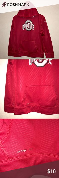 XL Youth NIKE ThermaFit Ohio State Pullover Hoodie Brand: Nike  Size: Youth XL Extra Large  Details: red with detail dri fit like hoodie called therma-Fit. Supports the Ohio state buckeyes! Pullover with hood & kangaroo pocket.  Condition: Good Used, does have a small pull by Nike swoop on arm, Therma-fit is worn on pocket, & Ohio state graphic on front does show wear.  Material: 100% polyester   Feel free to bundle to SAVE! Best offers are welcome! Items are priced with negotiation in mind…