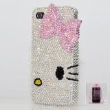 3D Swarovski Luxury Crystal Bling Case Cover for iphone 4 / 4s 100% Handcrafted by BlingAngels with Carrying Pink Pouch