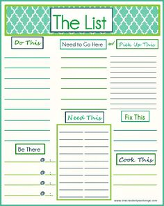 Free Printable �To Do� List�