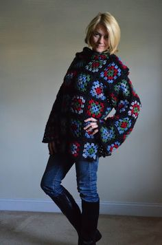 Granny squares pullover.{Outstanding Crochet}