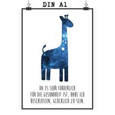 Poster DIN A1 Giraffe aus Papier 160 Gramm  weiß - Das Original von Mr. & Mrs. Panda.  Jedes wunderschöne Poster aus dem Hause Mr. & Mrs. Panda ist mit Liebe handgezeichnet und entworfen. Wir liefern es sicher und schnell im Format DIN A2 zu dir nach Hause. Das Format ist 549 x 841 mm    Über unser Motiv Giraffe  Rekord: Giraffen sind die höchsten landlebenden Tiere der Welt. Männchen können bis zu 6 Meter hoch werden. Giraffen leben in Freiheit in der afrikanischen Savanne, in…