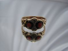 9K Solid Yellow Gold Victorian Garnet Ring by GrandmothersEstate