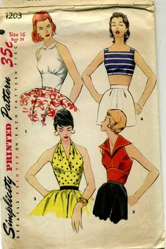 Simplicity 1203  ©1955 Halter and Sun Tops