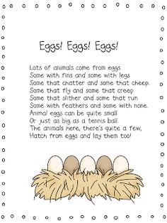 Wills Kindergarten: Lesson Plans for Next Week Oviparous Animals.Some Freebies! Kindergarten Poems, Kindergarten Lesson Plans, Kindergarten Projects, Farm Activities, Spring Activities, Sequencing Activities, Science Activities, Preschool Eggs, Farm Unit