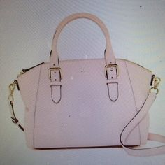 REDUCED Kate Spade ballet slipper leather satchel REDUCED Kate spade Charlotte Street small Sloan leather satchel and ballet slipper pink. Dual role top handles, detachable adjustable shoulder strap, zip top closure protective, metal feet. interior has one wall zip and 2 slip pockets. 9.5 inches high by 14 inches wide by 5 inches deep. 6 inch strap drop and 18 to 22 inch shoulder strap NWT kate spade Bags Satchels