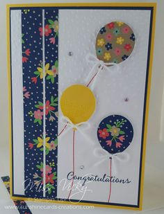 Congratulations Stamp Set - Balloon Celebration, DSP - Affectionately Yours, Softly Falling EF, https://sunshinecards-creations.com/2017/01/08/fms269/ Stampin' Up!