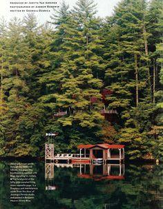 The boathouse of Atlanta artist Comer Jennings, Lake Rubun, Georgia. House & Garden (U.S.)