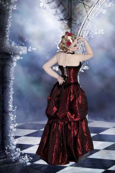 "Vampire Steampunk Dress Alternative Wedding Gown "" Elegant in Red ""-Custom to Order. $755.00, via Etsy."