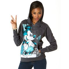 Sublimated Art Mickey Mouse Hoodie for Women