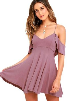 c7168e00b4401 Lifetime of Love Mauve Backless Skater Dress Lulus Exclusive! Get a little  flirty with the Lifetime of Love Mauve Backless Skater Dress! Ruffled  shoulder ...