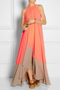 Saloni|Iris georgette maxi dress|See by Chloe | Embellished leather and canvas sandals | Marc by Marc Jacobs | Raveheart metallic leather clutch