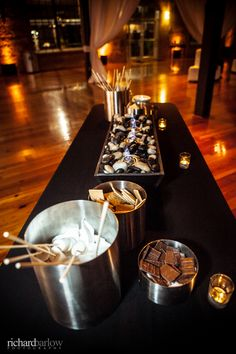 S'mores bar. Very elegant! | Beth and Peter's Bay 7 Wedding