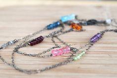 Long Minimalist Gemstone Necklace. Moonstone, Peridot, Amber, Apatite, Garnet, Labradorite, Amethyst and Pink and Swiss Blue Topaz.