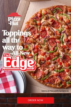 Why do we call it The Edge? That's because every slice of this pizza comes loaded with pizza toppings, plus a sweet tomato sauce all on top of a crispy, thin crust. Don't forget that garlic and herb seasoning. Every bite is the best bite. This might be our best pizza… Try one of four new recipes for a limited time. It's the perfect summer party food. Low Carb Recipes, New Recipes, Good Food, Yummy Food, Pizza Hut, Good Pizza, Air Fryer Recipes, Main Meals, Tasty Dishes