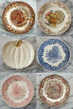A nice variety of Thanksgiving Turkey plates & A Thanksgiving Table with Turkey Plates Plaid and Pumpkin-Oak Leaf ...
