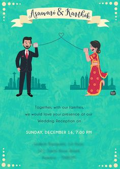 Custom illustrated wedding invitations, unique to each couple, designed by Mithila Ananth Illustrated Wedding Invitations, Indian Wedding Invitation Cards, Wedding Invitation Video, Wedding Reception Invitations, Wedding Invitation Card Design, Invites, Wedding Card Design Indian, Indian Wedding Cards, Shadi Card