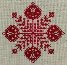 Finished cross stitch flower block based on the original design of 1927 Cross Stitch Borders, Cross Stitch Flowers, Cross Stitch Designs, Cross Stitch Patterns, Palestinian Embroidery, Christmas Cross, Cross Stitch Embroidery, Needlepoint, Needlework