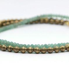 Jade and Ethiopian brass bead wrap necklace rondelle stone Turquoise Bracelet, Jade, Brass, Jewellery, Stone, Bracelets, Bangle Bracelets, Jewelery, Jewelry Shop