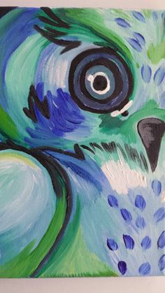 Blue Owl Acrylic Painting on Small Canvas Wall by GalleryMadeline