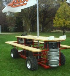 Motorized picnic table with built in keg, Shut the Front Door!