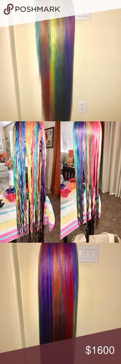 "Custom Dyed 100% Human Hair Rainbow 🌈 Wig! Made this wig on an adjustable deluxe wig cap for a 🏳️‍🌈 pride celebration. The wig can be tightened with the straps on both sides for a custom fit. It has 4 bundles of 26"" 613 (blonde) custom dyed and a 22"" 613 (blonde) lace closure. Colored with permanent dye. MAKE ME AN OFFER!  Lesbian Gay Pride Transgender LGBT Accessories Hair Accessories"