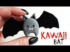 polymer clay Kawaii Bat Brooch TUTORIAL | Halloween - YouTube