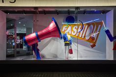 We created this giant Megaphone for Debenhams 'Bring It On' window campaign at their flagship Oxford Street store Retail Windows, Store Windows, Oxford Street, Debenhams, Visual Merchandising, Bring It On, Display, Digital, Outdoor Decor