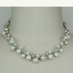 Bridal beaded necklace pearl crochet chunky by AniDesignsllc, $25.95