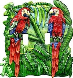 Red Parrot Design Switch Plate, Light Switch, Hand Painted Metal Tropical Decor -Switchplate Covers - Tropical Light Switch Cover - by SwitchPlateDecor on Etsy Art Tropical, Tropical Design, Tropical Birds, Tropical Colors, Switch Plate Covers, Light Switch Plates, Light Switch Covers, Metal Art, Painted Metal