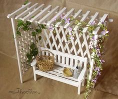 Miniature and doll houses: Top 5 pergola (wonderful pictures of how . - Miniatures and doll houses: Top 5 pergola (wonderful pictures of how to w … – - Popsicle Stick Houses, Popsicle Crafts, Craft Stick Crafts, Diy And Crafts, Popsicle House, Craft Sticks, Craft Ideas, Miniature Crafts, Miniature Fairy Gardens