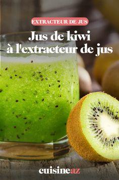 Ce jus de kiwi à l'extracteur de jus peut se préparer avec des kiwis verts ou jaunes. #recette#cuisine#pates#patisserie#jus#kiwi #fruit #boisson #extracteurdejus #robot Cantaloupe, Robot, Food And Drink, Cooking Recipes, Juice Extractor, Vitamin E, Drinks, Robots