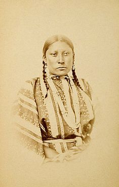 An old photograph of the Daughter of Little Robe - Southern Cheyenne.