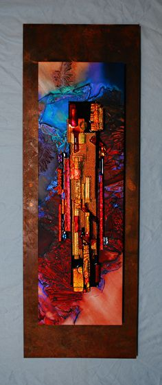 "Contemporary Mixed Media - ""Untitled #7"" (Original Art from Elizabeth Dunlop Studios) using Dichroic glass and mounted on glass"