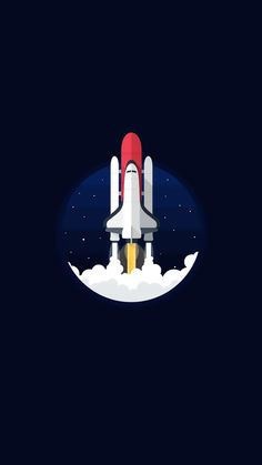 1080x1920 #flatdesign #illustration #outerspace #rockets #spaceshuttle