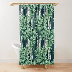 Turquoise Cabinets, Turquoise Bathroom, Flower Shower Curtain, Fabric Shower Curtains, Wallpaper Toilet, Modern Sink, Glass Sink, Black And White Tiles, Basket Decoration