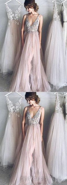 Sexy A-Line Deep V-Neck Pink Tulle Long Prom Evening Dress with Appliques 0068 Long Prom Dress, V-Neck Prom Dress, Appliques Prom Dress, Sexy Prom Dress, Evening Dresses Pink Prom Dresses Long V Neck Prom Dresses, A Line Prom Dresses, Tulle Prom Dress, Sexy Dresses, Long Dress For Prom, Pink Dresses, Elegant Dresses, Wedding Dresses, Prom Long