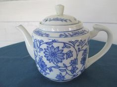 Vintage Oriental Blue And White Floral Tea Pot Marked by BitofHope